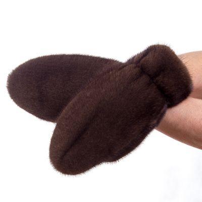 Варежки из меха норки Зима